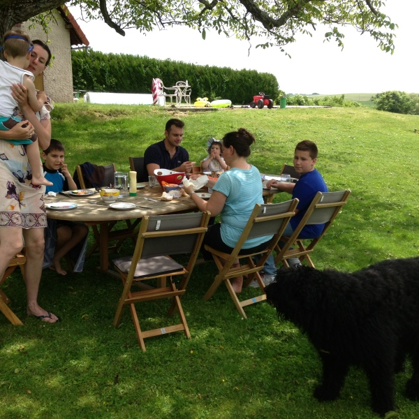 Lunch outside, under the tree, with our friendly puppy! Very French setting!