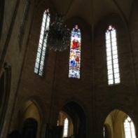 stained glass in Sarlat's church