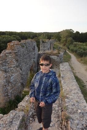 Ryan walking on Roman aqueducts (Barbegal Mill).