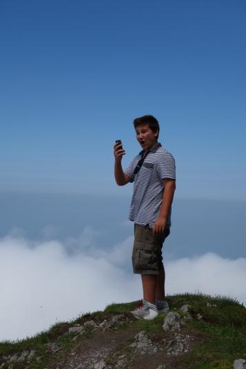 Brandon taking pics for his blog... on top of Mt Pilatus