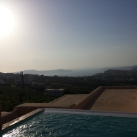 View of our plunge pool in Santorini.
