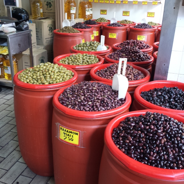 An olive store in Athens.
