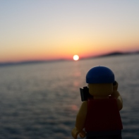 The sunset on Naxos with Lego man.