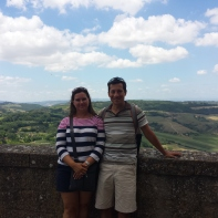 Mommy and Daddy on the walls that surround Siena